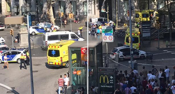 شاحنة صغيرة تصدم حشدا في برشلونة وسقوط العديد من الجرحى