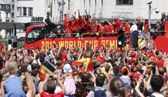 استقبال جماهيري حافل لمنتخب بلجيكا في بروكسيل