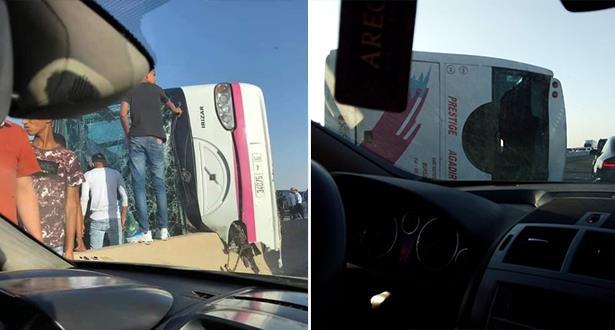 جرحى في انقلاب حافلة للمسافرين بين مراكش وبنجرير
