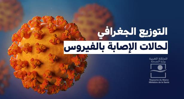 التوزيع الجغرافي لنسب الإصابات بفيروس كورونا المسجلة بالجهات وفق آخر حصيلة