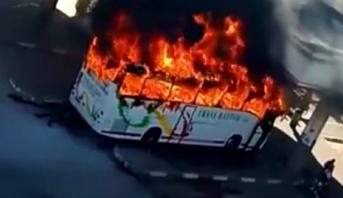 نشوب حريق مهول في حافلة للنقل العمومي بمحطة القنيطرة