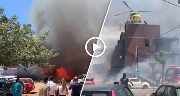 فيديو .. إصابة ثلاث مغاربة في حريق مهول اندلع في مبنى بإيبيزا