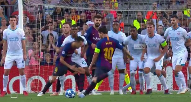 هدف ميسي يمنح برشلونة التقدم أمام آيندهوفن