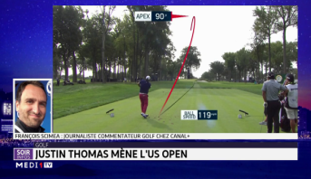 "Golf: Justin Thomas mène l'US Open, marqué par deux ""hole in one"""