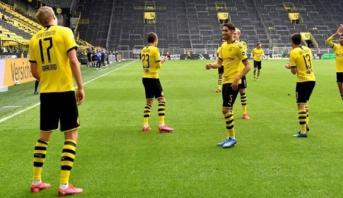 """بطولة ألمانيا: هالاند يقص شريط الأهداف بعد """"إجازة"""" كورونا"""