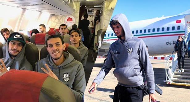 صور.. وصول بعثة اتحاد طنجة إلى الجزائر قبل مواجهة الساورة
