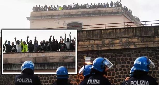 شغب في سجون إيطالية على خلفية إجراءات متعلقة بكورونا يسفر عن قتيل