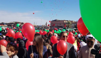 Lâcher de ballons à la place Jemaâ El Fna pour le 16ème Congrès national des droits de l'enfant