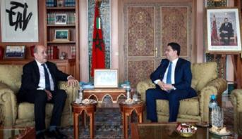 Rabat: Bourita reçoit le ministre de l'Europe et des Affaires étrangères français, Jean-Yves Le Drian