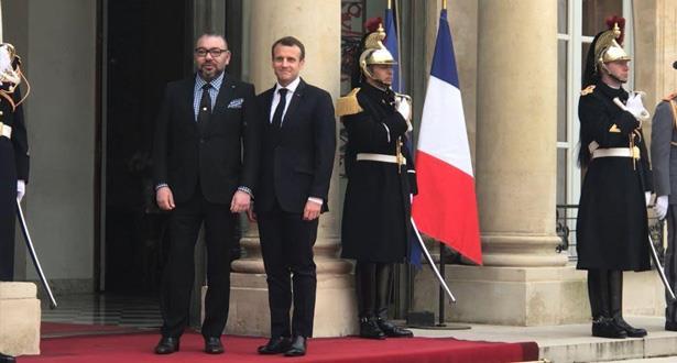 Le Roi Mohammed VI reçu à l'Elysée par le Président de la République Française