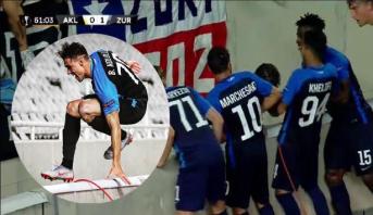 """لاعب يسقط في """"حفرة"""" عميقة بعد الهدف يخلق الحدث في """"اليوروبا ليغ"""""""