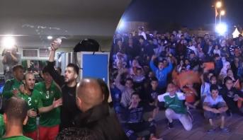 """فيديو .. الأجواء بمدينة العيون وكواليس فرحة """"أسود الفوتصال"""" بالتأهل للمونديال"""