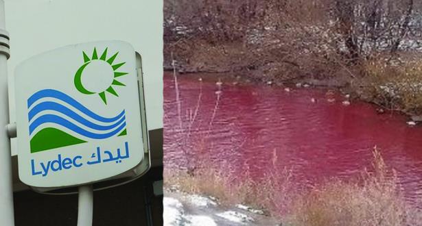 """ليديك توضح سبب """"المياه الحمراء"""" بواد بوسكورة"""