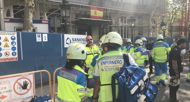 قتيل وثمانية جرحى جراء انهيار جزء من فندق قيد الترميم وسط مدريد