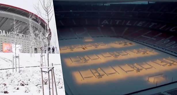 أتليتيكو مدريد يتغلب على الثلوج ويجهز ملعبه للمباراة مع إشبيلية