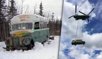"""نقل الحافلة الشهيرة """"ماجيك باص"""" من موقعها في ألاسكا"""
