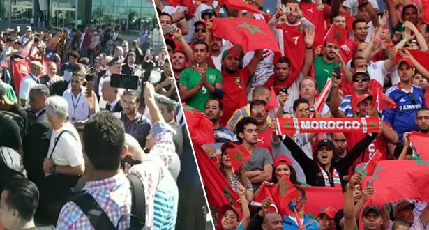 """الجمهور الوجدي يرحب بـ """"الأسود"""" والمنتخب الليبي بمدينته"""
