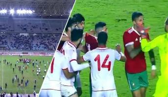 """فيديو .. توتر الأعصاب بين لاعبي المنتخبين التونسي والمغربي في """"رادس"""""""