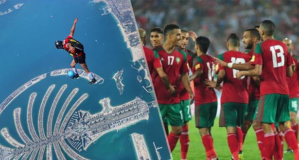 Le parachutiste marocain Anas Bekkali exprime, à sa manière, son soutien aux Lions de l'Atlas