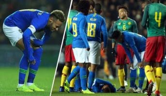 نيمار يخرج مصابا بعد 8 دقائق من المباراة الودية ضد الكاميرون