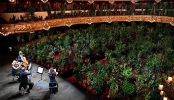 أولى الحفلات بعد الحجر في أوبرا برشلونة.. جمهورها نباتات