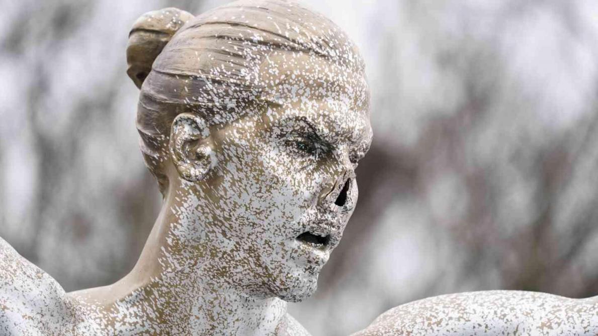 مجهولون يخربون تمثال إبراهيموفيتش من جديد!!