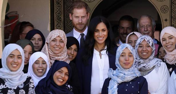 الأمير هاري وعقيلته الأميرة ميغان ماركل في زيارة لمؤسسات تعليمية بمنطقة أسني بإقليم الحوز