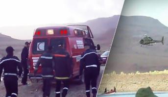 انقلاب حافلة نقل المسافرين بإقليم الرشيدية .. انتشال جثث 5 أشخاص