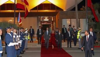 """العاهل الإسباني الملك """"ضون"""" فيليبي السادس والملكة """"ضونيا"""" ليتيثيا يغادران المغرب في ختام زيارة رسمية"""