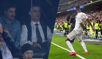 """فيديو .. رد فعل رونالدو بعد هدف فينيسيوس في """"الكلاسيكو"""""""