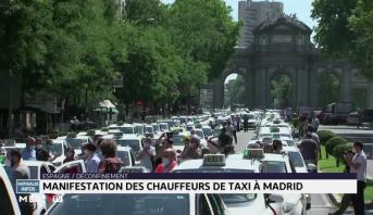Manifestation des chauffeurs de taxi à Madrid