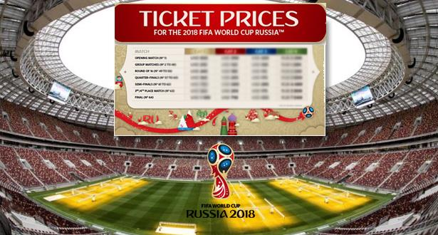"""""""الفيفا"""" تكشف لائحة أسعار تذاكر مباريات المونديال وموعد استئناف عملية البيع"""