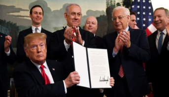 ترامب يوقع إعلان الاعتراف الأمريكي بسيادة إسرائيل على الجولان