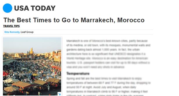 """صحيفة """"يو إس إيه توداي"""" تحتفي بمراكش، إحدى الوجهات الساحرة في المغرب"""