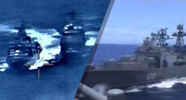 حادث خطير في أعالي البحار بين مدمرة روسية وطراد أمريكي