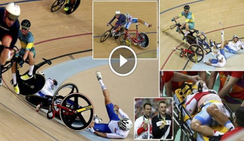 فيديو وصور .. اصطدام مروع في مضمار سباق الدراجات الأولمبي