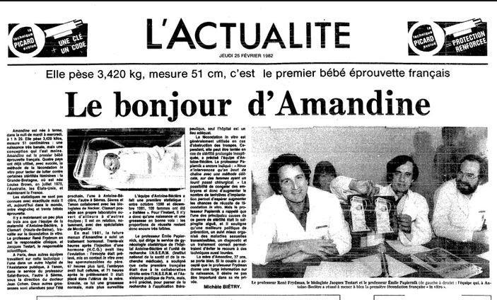 Amandine, premier bébé éprouvette en France