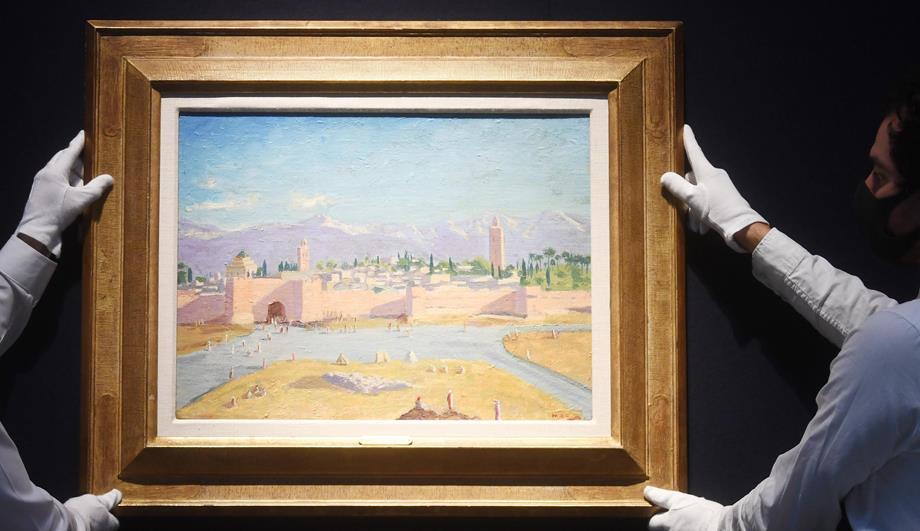 عرض لوحة من رسم وينستون تشرشل تجسد مسجد الكتبية للبيع في مزاد بلندن