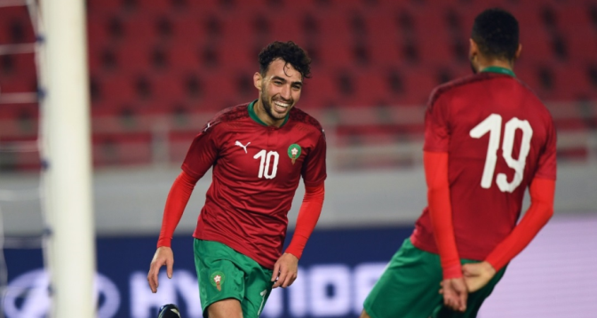 الحدادي بأول أهدافه الدولية يقود المغرب للفوز على بورندي