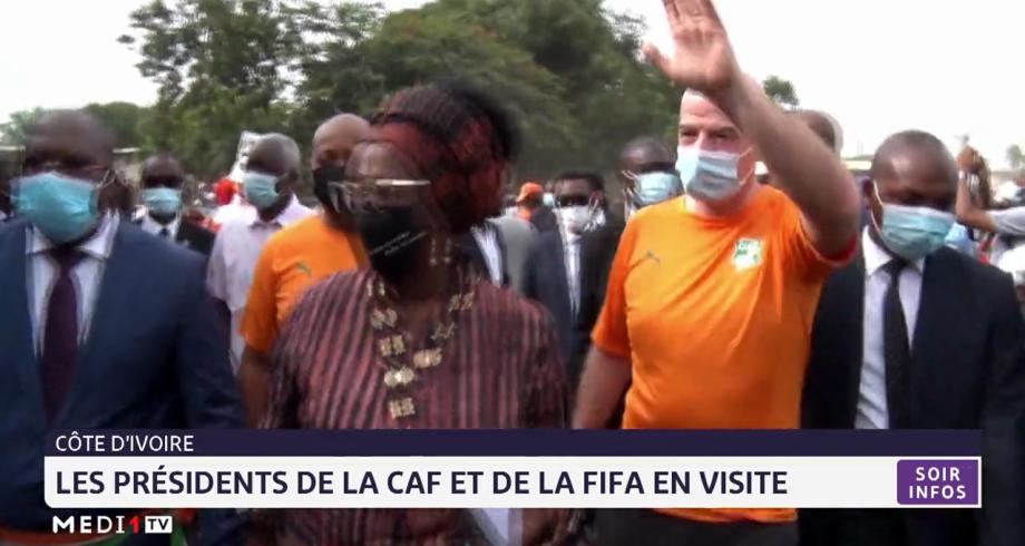 Les présidents de la CAF et de la FIFA en visite en Côte d'Ivoire
