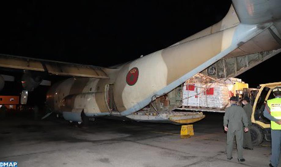 مغادرة ثاني طائرة عسكرية تحمل مساعدات إنسانية مغربية لفائدة الفلسطينيين