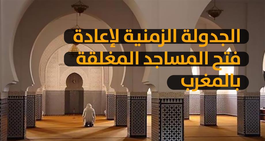 الجدولة الزمنية لإعادة فتح المساجد المغلقة بالمغرب
