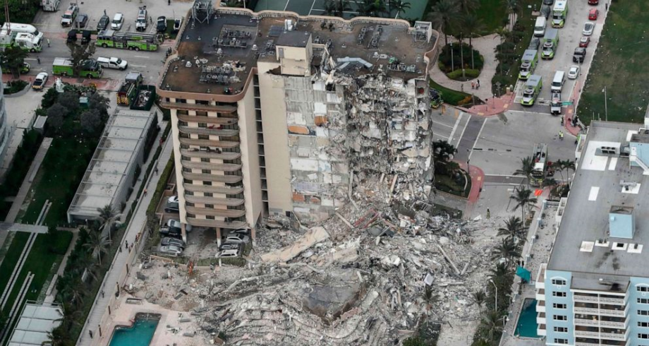 قتيل و99 مفقودا في انهيار جزئي لمبنى في فلوريدا