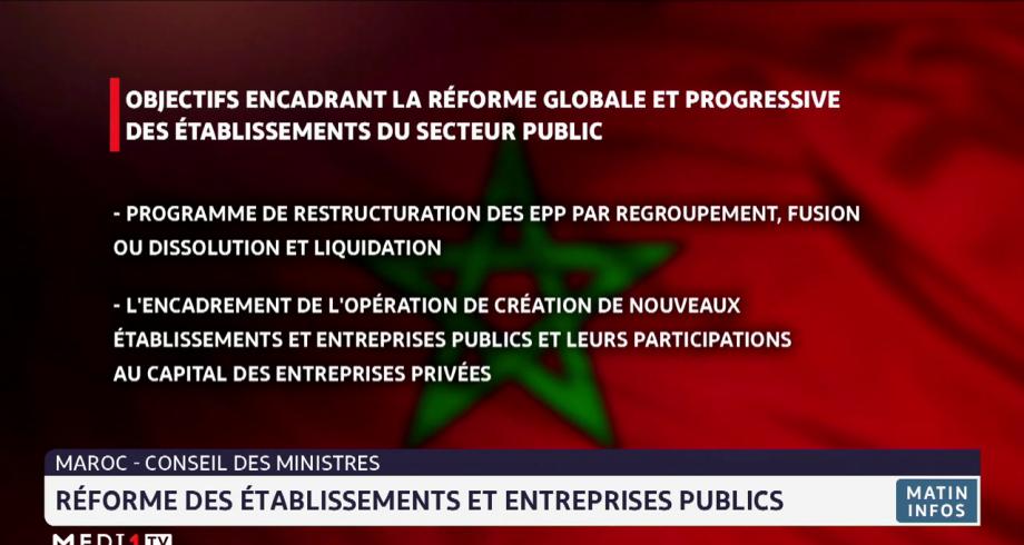 Maroc-Conseil des ministres: reforme des établissements et entreprises publics