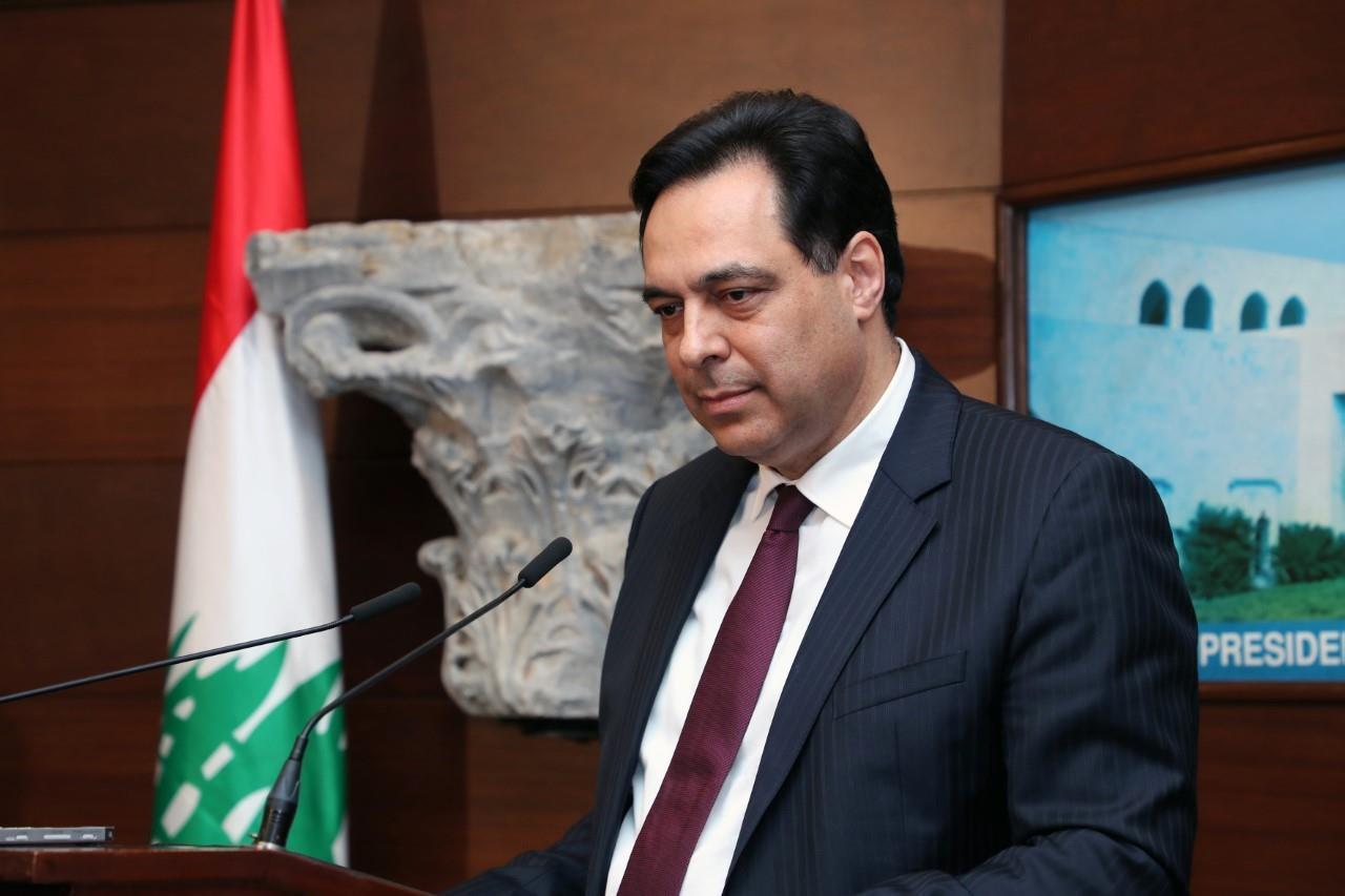 حسان دياب يدعو المجتمع الدولي لإنقاذ لبنان من أزماته