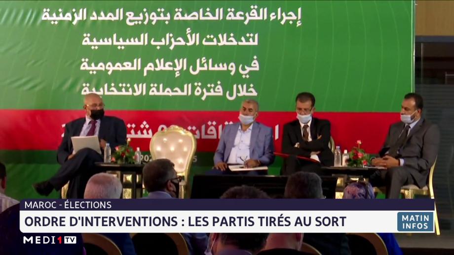 Ordre d'interventions des partis politiques dans les médias: cérémonie de tirage au sort à Rabat