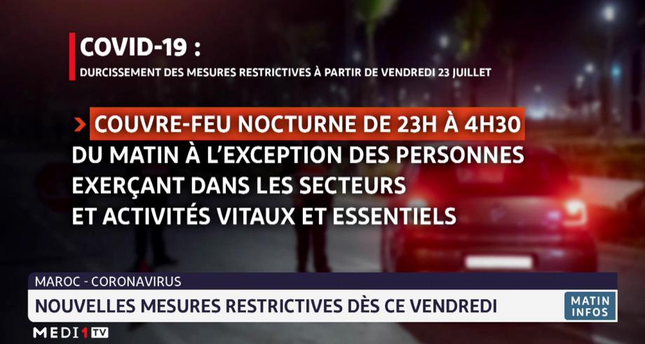 Maroc: nouvelles mesures restrictives dès ce vendredi