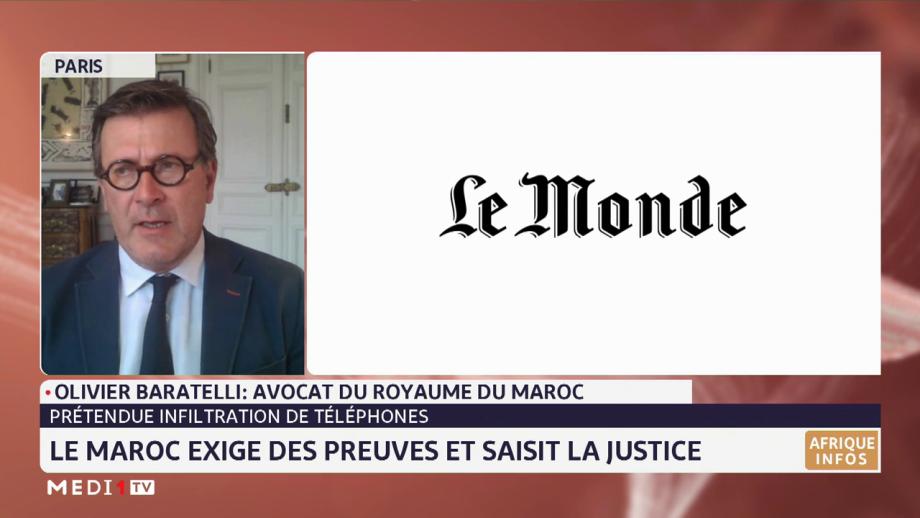 """Olivier Baratelli: le Maroc rejette les allégations mensongères sur l'affaire """"Pegasus"""" et saisit la justice"""