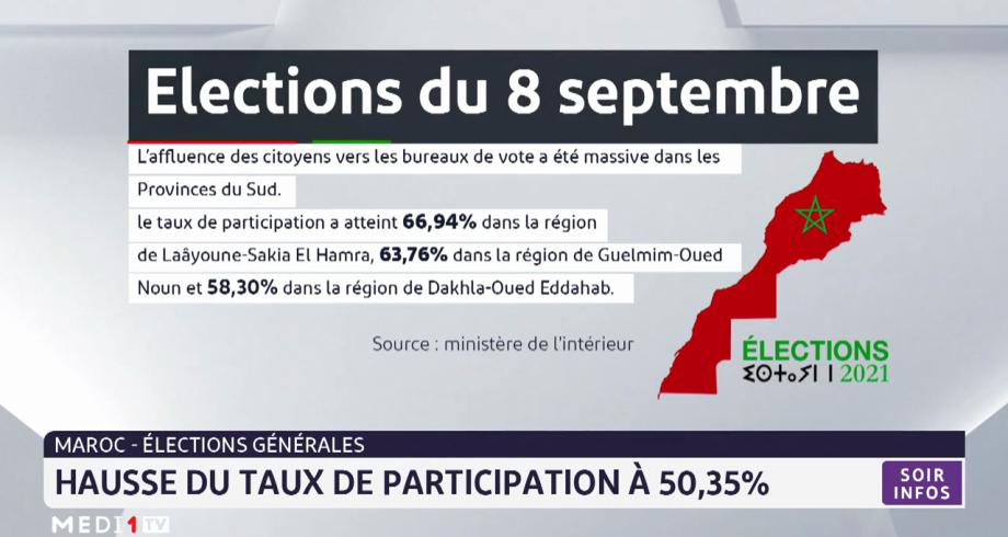 Élections générales: hausse du taux de participation à 50,35%