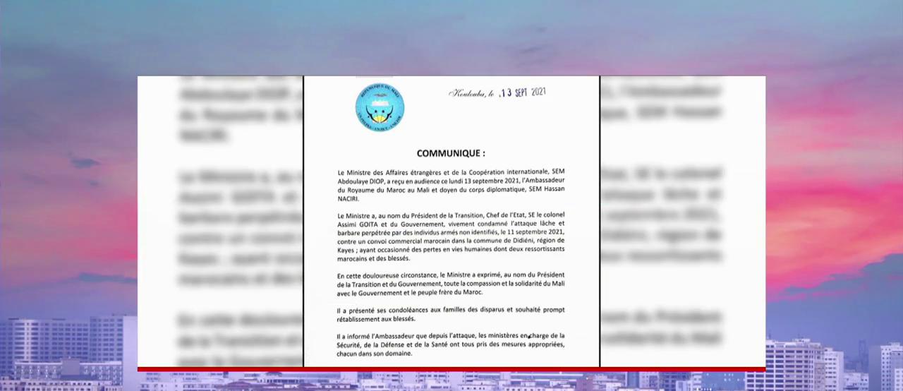Morts des chauffeurs marocains: le gouvernement malien condamne l'attaque